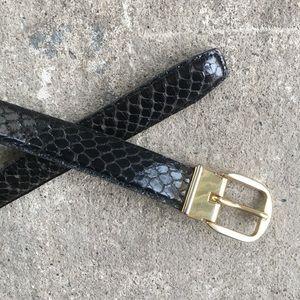 Accessories - Vintage | Black Snakeskin Belt